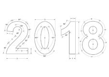 Изолированная светокопия 2018 - Стоковое Изображение RF