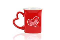 изолированная сердцем кружка влюбленности пишет Стоковое фото RF