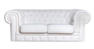 Изолированная софа белой кожи Стоковая Фотография