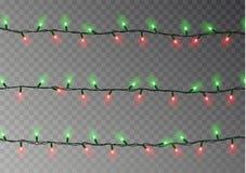 Изолированная строка светов рождества Реалистическое украшение гирлянды Праздничные элементы дизайна Накаляя lig иллюстрация вектора