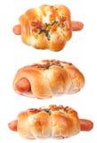 Изолированная хлебопекарня плюшки сосиски Стоковая Фотография RF