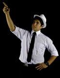 изолированная черной шляпой белизна рубашки человека Стоковые Изображения RF