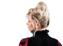 Изолированное вид сзади стиля причёсок красотки Стоковые Фото