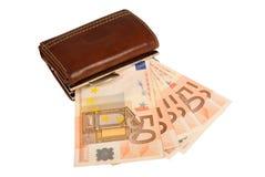 изолированное евро замечает бумажник Стоковые Изображения
