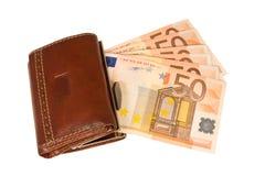 изолированное евро замечает бумажник Стоковые Изображения RF