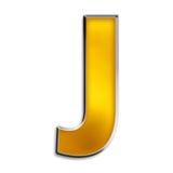 изолированное золотом письмо j глянцеватое Стоковое Изображение RF