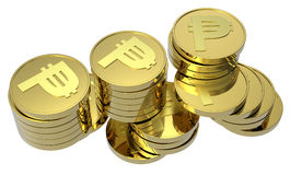 изолированное золото монеток штабелирует белизну Стоковые Фотографии RF