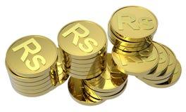 изолированное золото монеток штабелирует белизну Стоковые Изображения