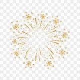 Изолированное золото фейерверка иллюстрация штока