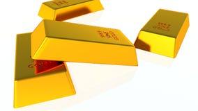 изолированное золото штанг 3d представляет белизну Стоковое Изображение RF
