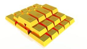изолированное золото штанг 3d представляет белизну Стоковая Фотография RF