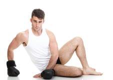 Изолированное изображение студии от молодого боксера Стоковые Фотографии RF