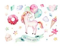 Изолированное милое clipart единорога акварели Иллюстрация единорогов питомника Плакат единорогов радуги принцессы Ультрамодный п