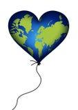 изолированное сердце земли воздушного шара Стоковое Изображение