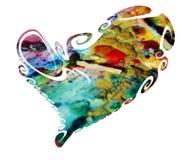 изолированное сердце покрашенным Символ и концепция влюбленности на белой предпосылке Стоковое фото RF