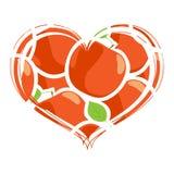 изолированное сердце яблок 3d представляет белизну Стоковая Фотография RF