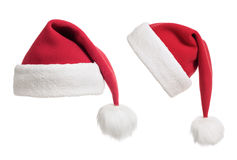 Изолированное собрание шлемов или крышек Санта Стоковое фото RF