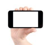 изолированное iphone владением руки яблока пустое стоковое изображение