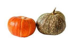 2 изолированной тыквы, оранжевый и зеленый, Стоковое Изображение