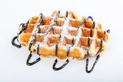 Изолированные бельгийские waffles при шоколад изолированный на белой предпосылке Стоковое фото RF