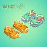 Изолированные ботинки для детей Установленные значки ботинка лета Стоковое Изображение RF