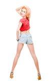 изолированные волосами красные детеныши белой женщины Стоковое Изображение RF
