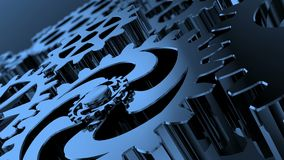 Isolated rotating blue gears Stock Footage