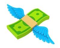 Изолированные деньги подгоняют летание иллюстрация штока