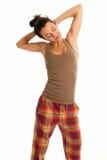 изолированные детеныши женщины пижам сонные нося Стоковая Фотография RF