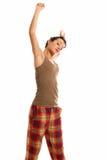 изолированные детеныши женщины пижам сонные нося Стоковые Фото