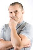 изолированные детеныши человека upset белые Стоковая Фотография