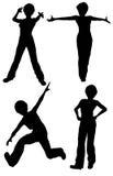 изолированные женщины силуэтов представлений различные Стоковое Изображение RF