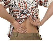 изолированные задней частью детеныши белой женщины боли Стоковое Фото
