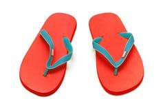 изолированные красные сандалии Стоковые Изображения RF