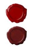 изолированные красные уплотнения установили воск белым Стоковое Изображение