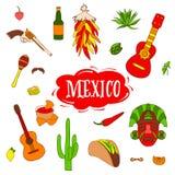 Изолированные красочные стильные элементы о Мексике Вручите вычерченное собрание для торжества Cinco de Mayo вектор иллюстрация штока