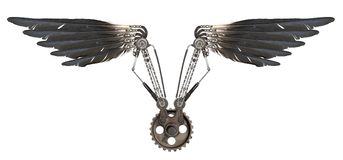 Изолированные крыла Steampunk стоковое изображение