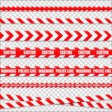 Изолированные линии предосторежения Предупреждающие ленты Знаки опасности вектор Стоковое Изображение
