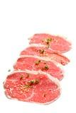 Изолированные ломтики говядины Стоковая Фотография