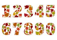Изолированные номера от 0 до 9 с предпосылкой красочных листьев осени r иллюстрация вектора