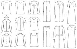изолированные одеждами женщины вектора Стоковое Изображение RF