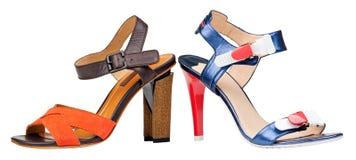 изолированные открытые излишек ботинки toe 2 белых женщины Стоковые Изображения RF
