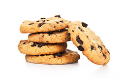 Изолированные печенья обломоков шоколада стоковое изображение