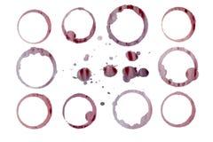 Изолированные пятна красного вина. Отдельно пути Стоковое Изображение RF