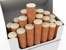изолированные сигареты раскрывают белизну пакета Стоковая Фотография