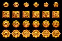 Изолированные символы старой мексиканской мифологии золотые Американский ацтек, тотем майяской культуры родной иконы предпосылки  иллюстрация штока