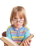 изолированные стекла ребенка книги Стоковое Изображение