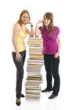 изолированные студенты 2 белых детеныша Стоковые Изображения RF