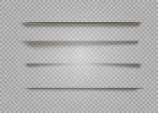 Изолированные тени вектора Рассекатель страницы при прозрачные изолированные тени Комплект влияний тени иллюстрация штока