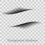 Изолированные тени вектора Рассекатель страницы при прозрачные изолированные тени Комплект влияний тени иллюстрация вектора
